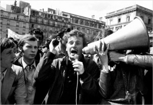 Mr. Cohn-Bendit at a Paris rally in May 1968, Courtesy of the New York Times