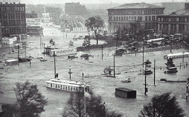 Chaos at rush-hour... downtown Providence, Rhode Island as the storm surge of the 1938 Hurricane submerges downtown (RI Historical Society).